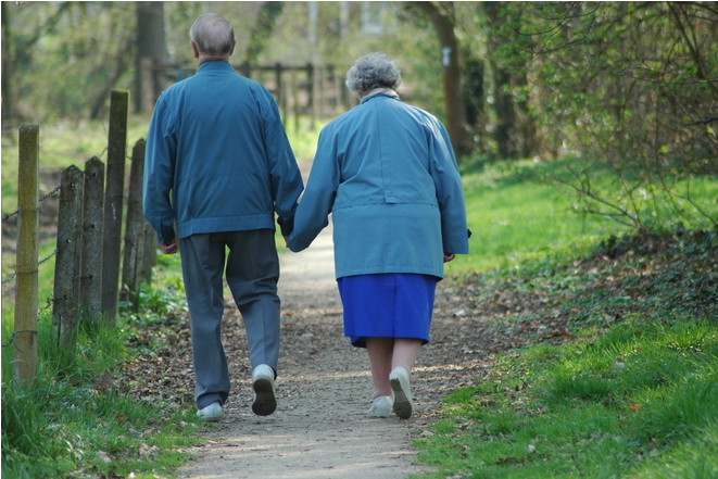 an older couple going for a walk