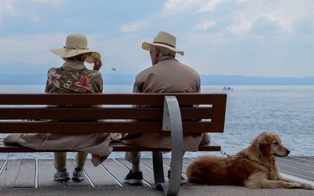 seniors talking on a bench