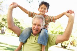 grandfather enjoying free time with grandson