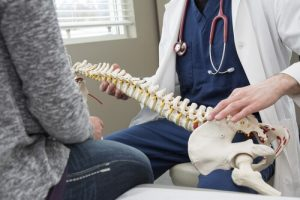chiropractor examing spinal cord